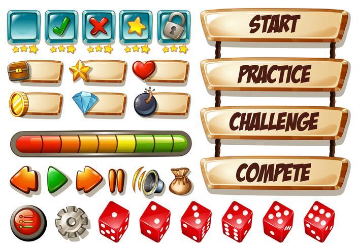 Éléments de jeu avec dés et autres icônes