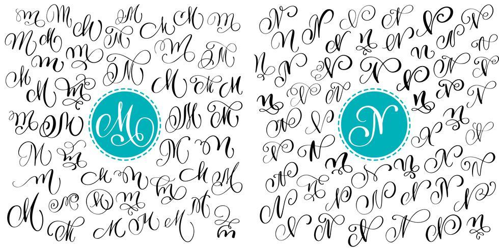 Sätta bokstaven M, N. Handdragen vektor blomstra kalligrafi. Skript typsnitt. Isolerade bokstäver skrivna med bläck. Handskriven penselstil. Handbokstäver för logotypemballage