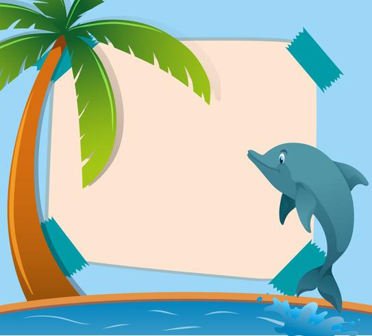 Paper template with dolphin in ocean
