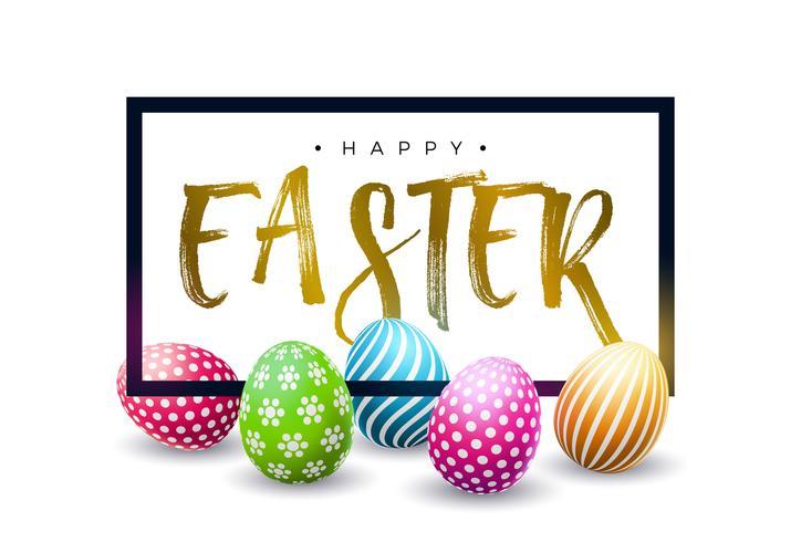Fröhliche Ostern-Feiertags-Design mit buntem gemaltem Ei und goldenem Typografie-Buchstaben