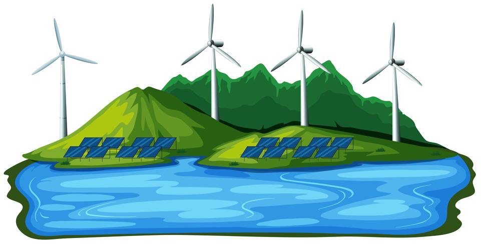 Énergie éolienne naturelle sur fond blanc