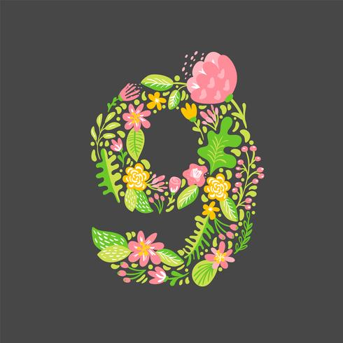 Florales de verano número 9 y nueve. Alfabeto capital de la boda de la flor. Fuente colorida con flores y hojas. Ilustración vectorial estilo escandinavo.