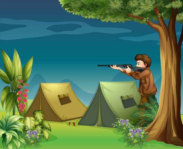 Een jager op een camping