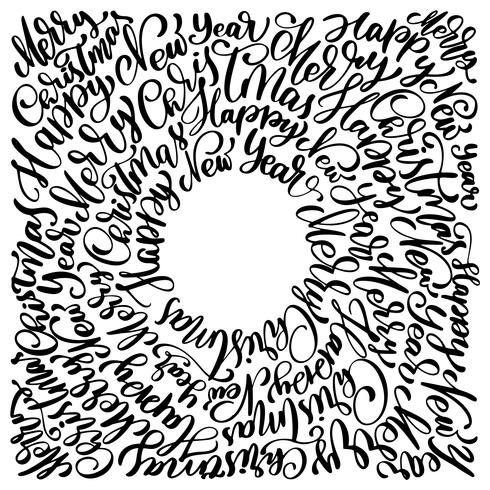 texts Merry Christmas hand written in a circle calligraphy lettering. handmade vector illustration. Fun brush ink typography for photo overlays, t-shirt print, flyer, poster design
