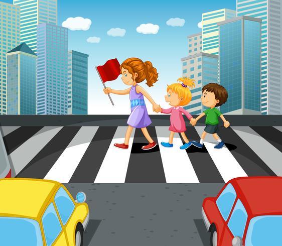Personas que cruzan la calle en la ciudad.