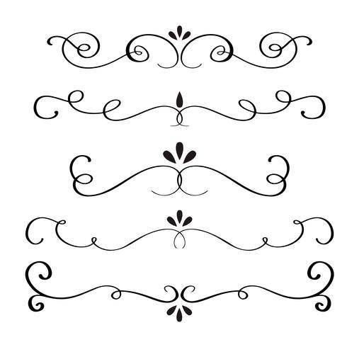Samling eller uppsättning vintageformade kalligrafiska blomningar. Vektor illustration