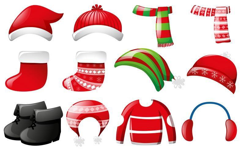 Winter clothes in red and green color
