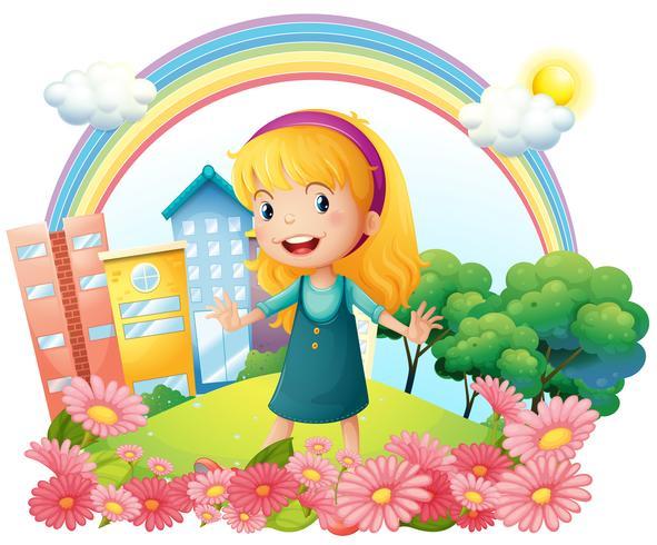 Een klein meisje dat zich in de tuin bevindt