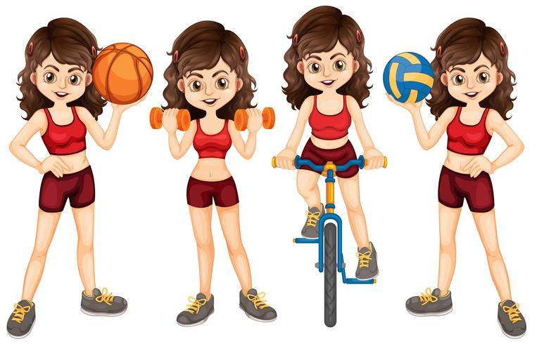 Vrouwenatleet die verschillende sporten doen