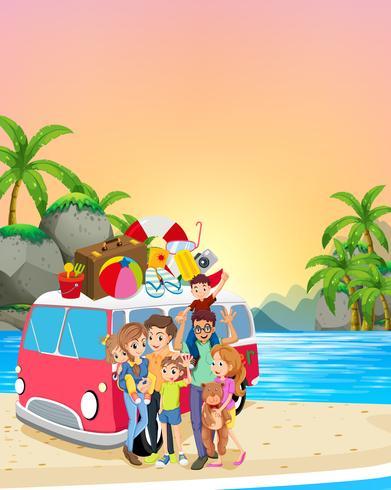 Família, tendo divertimento, praia