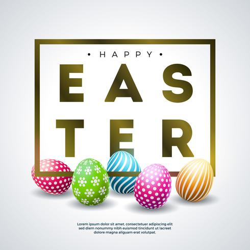 Happy Easter Holiday Design with Colorful Painted Egg and Golden Typography Letter vector