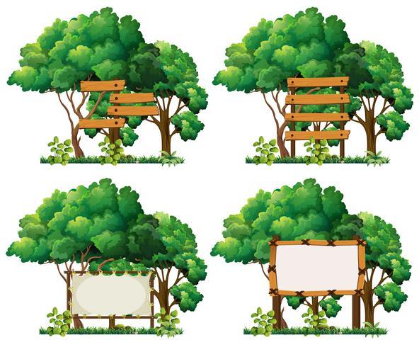 Fyra rammallar på stora träd