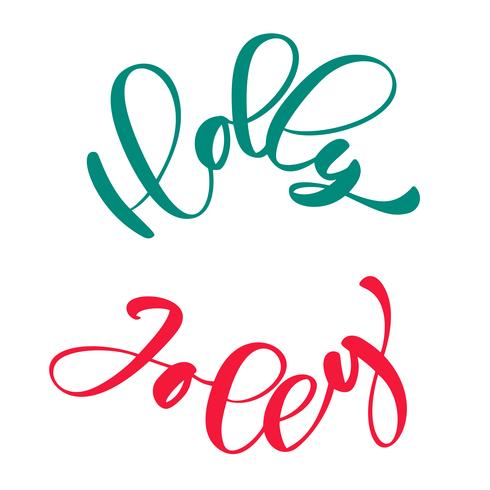 Holly Jolly calligraphy lettering Christmas phrase written in a circle. Hand drawn letters. vector text for design greeting cards photo overlays