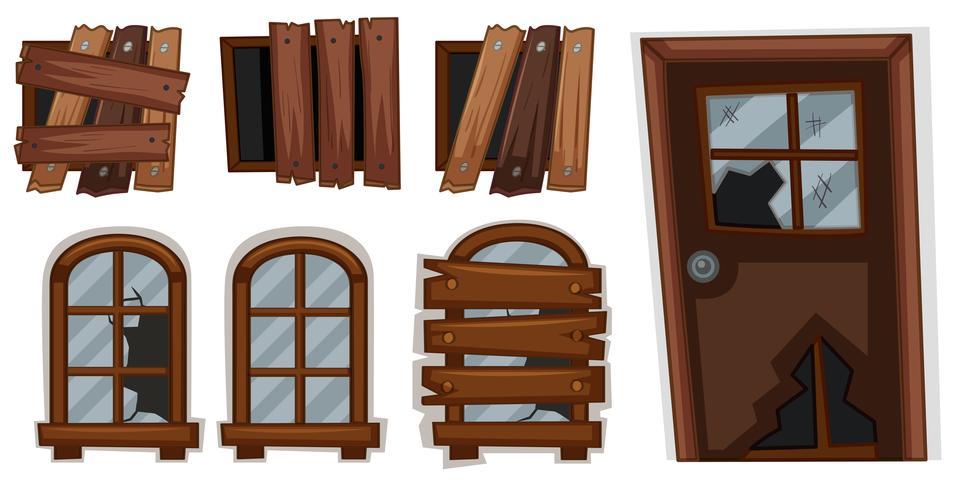 Zerbrochene Fenster und Türen