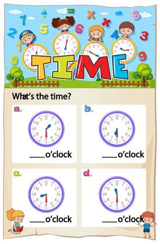 Mathe-Arbeitsblattentwurf zum Erzählen der Zeit