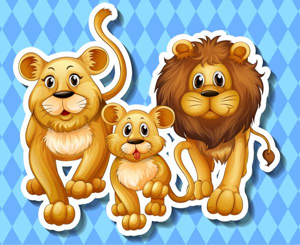 Lion family on blue background vector