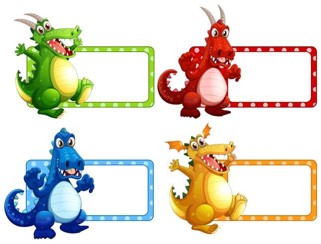 Design dell'etichetta con molti draghi