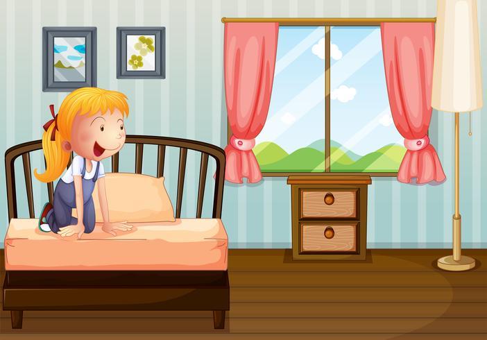 Ein Mädchen lächelt in ihrem Zimmer