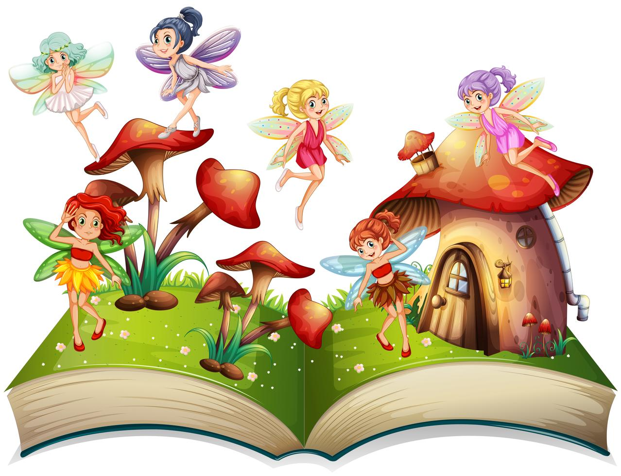 Картинка раскрытая книга со сказочными героями