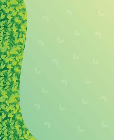 Un papel verde en blanco con hojas verdes vector