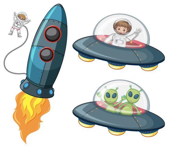 Astronauta y alienígenas en naves espaciales.