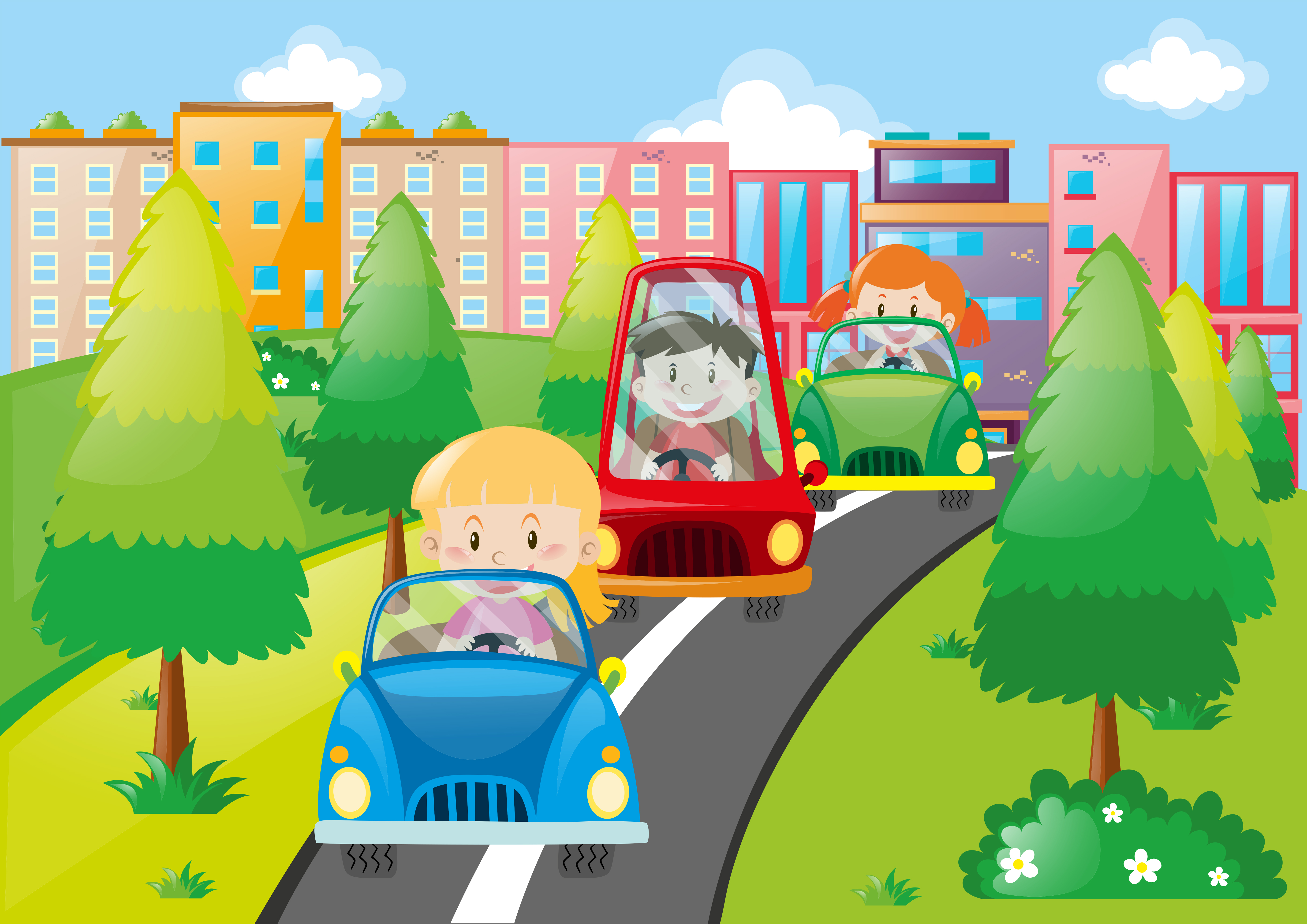 scene with kids driving cars in city