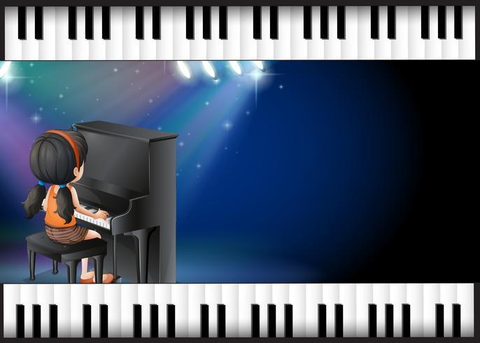 Hintergrunddesign mit dem Mädchen, das Klavier spielt
