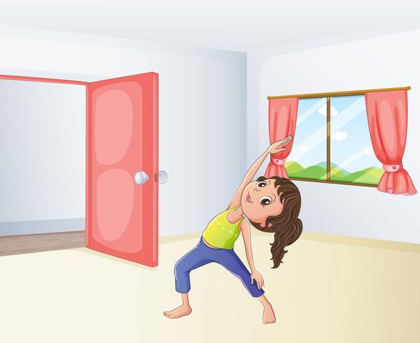 Una ragazza che esercita in una stanza