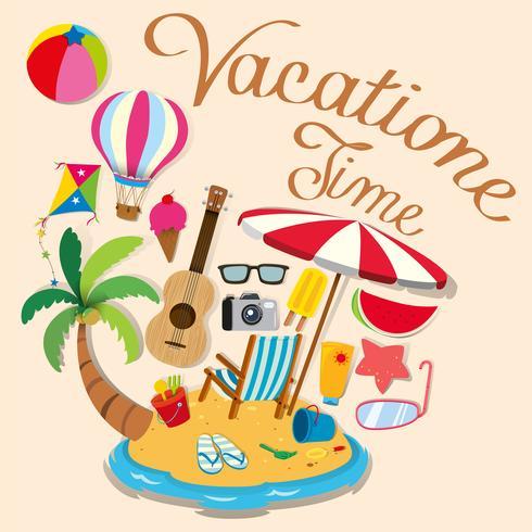 Tema di vacanza con oggetti dell'isola e della spiaggia