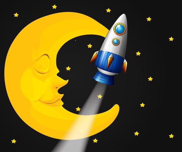 Bakgrundsscen med måne och raket
