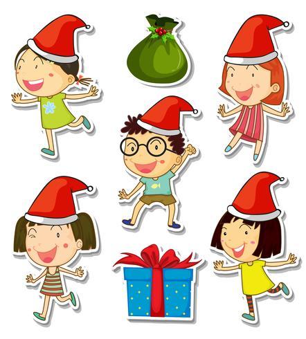 Thème de Noël avec des enfants et des cadeaux