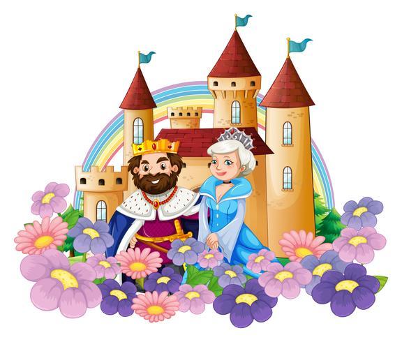 Kung och drottning i blomsterträdgård vid palatset