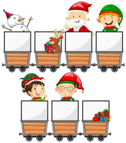 Carros mineros y elementos navideños.