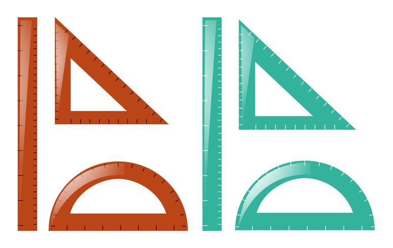 Linialen en driehoeken in bruin en blauw