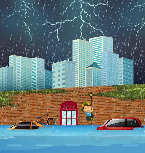 Inondazione improvvisa nella grande città