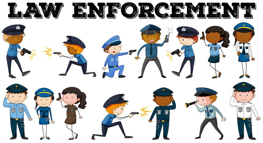 Policial e pôster de aplicação da lei