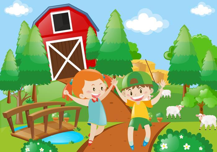 Menino menina, tocando, em, a, farmyard