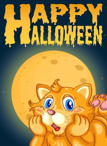 Katt på halloween kortmall