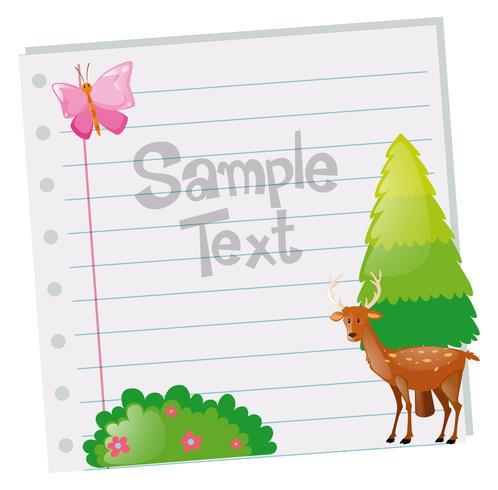 Plantilla de papel con ciervo y árbol