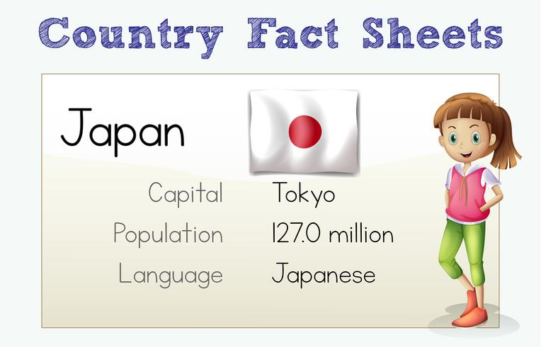 Japan country fact sheet with flag and person