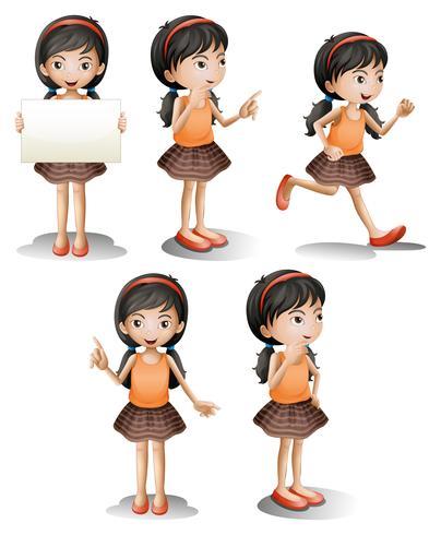Vijf verschillende posities van een meisje