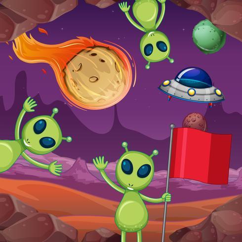 Aliens y planetas en el espacio.