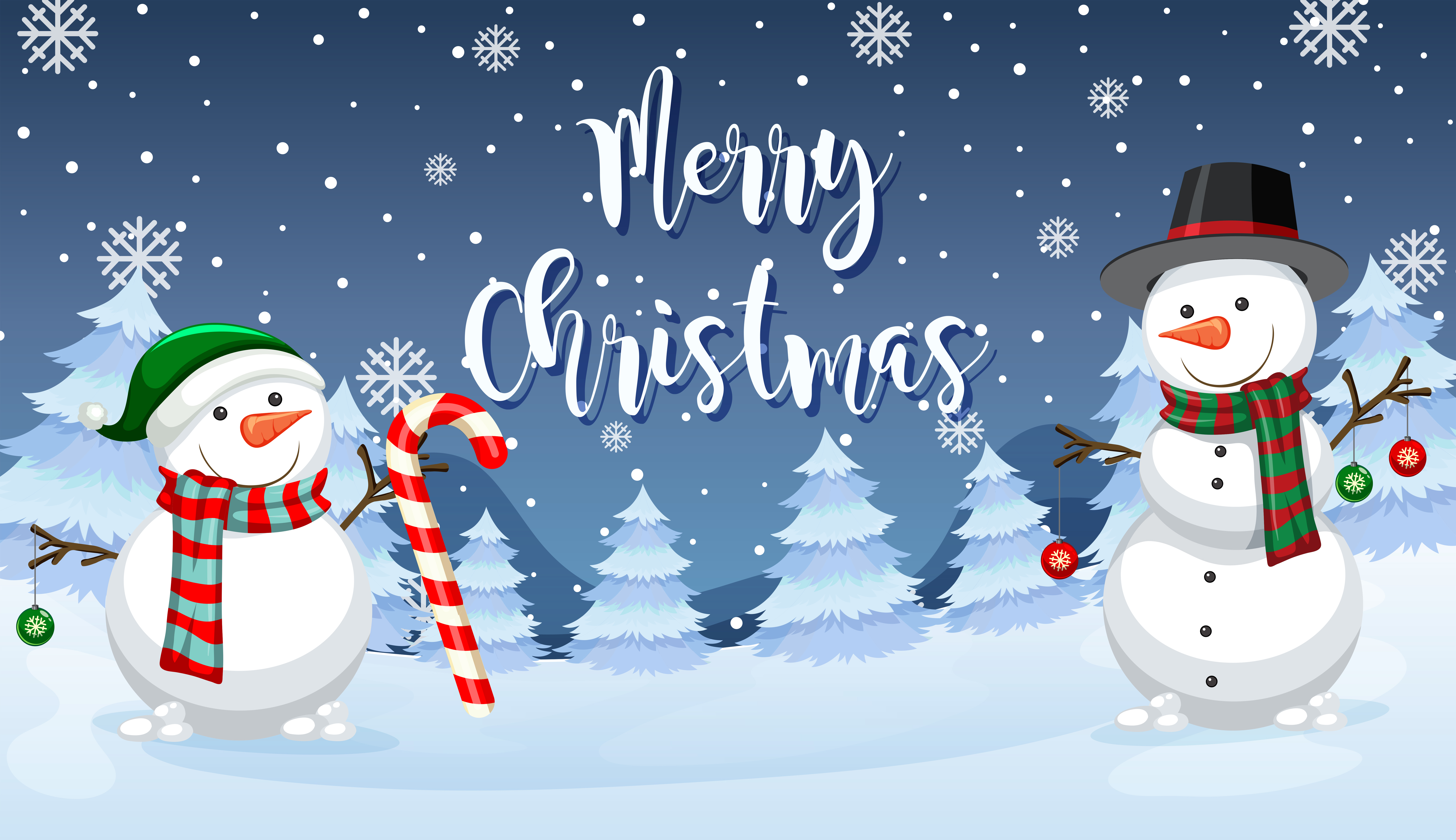 Merry Christmas snowman card - Download Free Vectors ...
