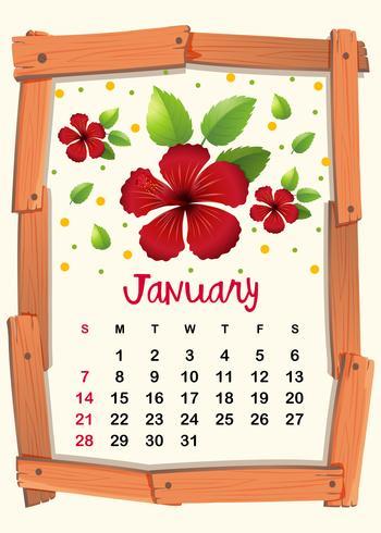 Kalendermall med röd hibiskus för januari