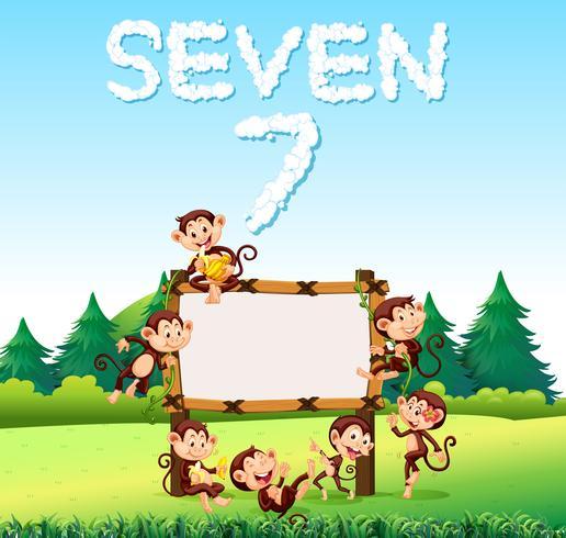 Sept singe à la planche de bois