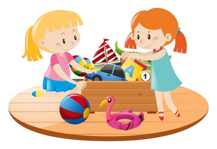 Meninas e caixa cheia de brinquedos