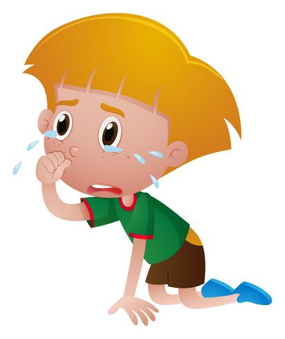 Little boy crying with tears