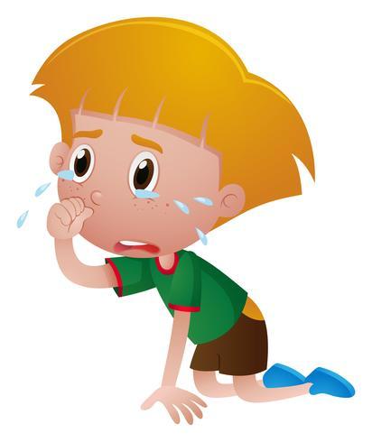 Kleiner Junge, der mit Tränen weint