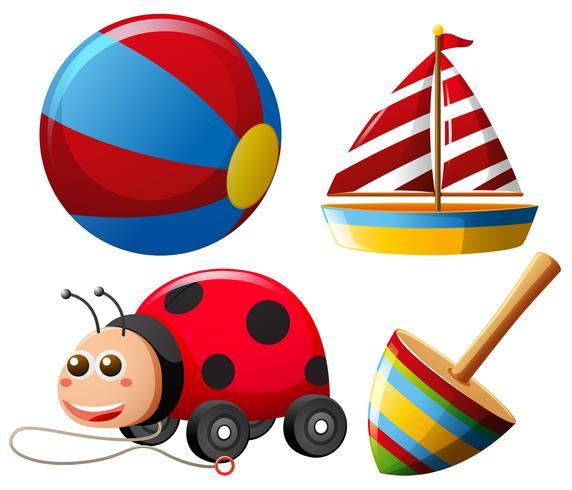 Diferentes tipos de juguetes para niños pequeños.