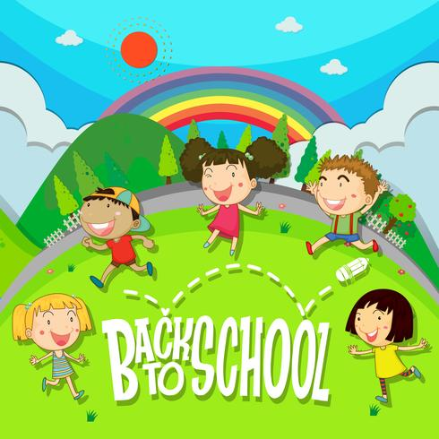 Back to school theme with children in the park